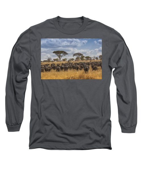 Long Sleeve T-Shirt featuring the tapestry - textile Cape Buffalo Herd by Kathy Adams Clark