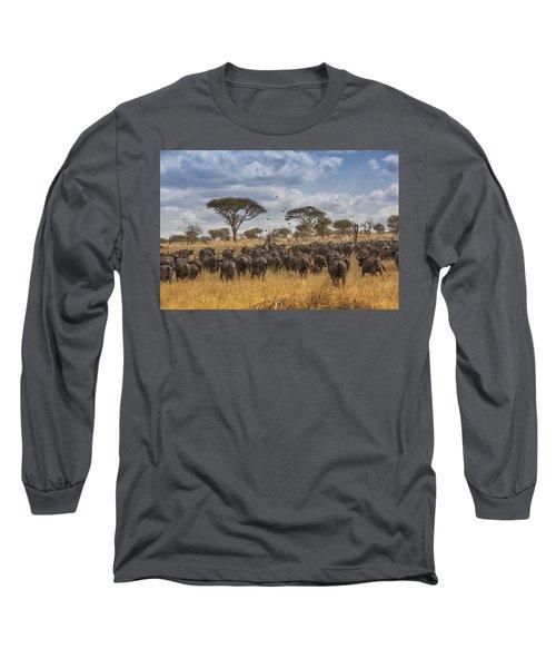 Cape Buffalo Herd Long Sleeve T-Shirt by Kathy Adams Clark