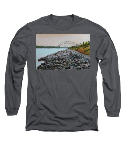Cape Cod Canal To The Bourne Bridge Long Sleeve T-Shirt by Rita Brown