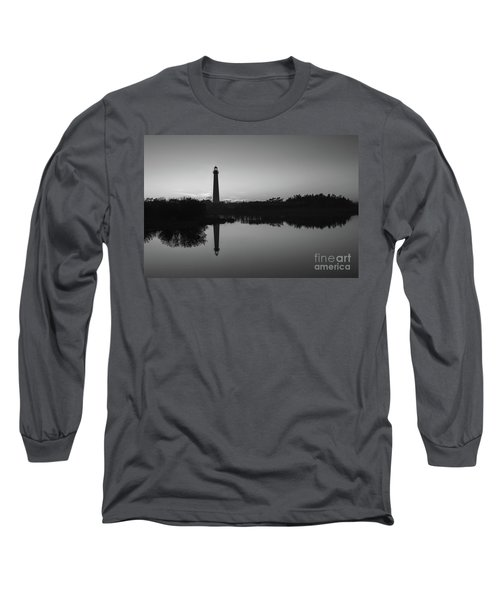 Cape May Lighthouse At Blue Hour Bw  Long Sleeve T-Shirt