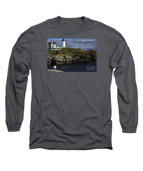 Cape Neddick Lighthouse Long Sleeve T-Shirt by Mim White