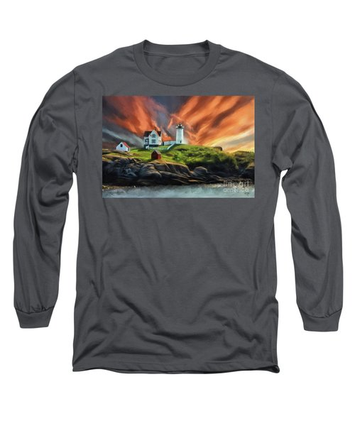 Long Sleeve T-Shirt featuring the digital art Cape Neddick Nubble Lighthouse by Lois Bryan