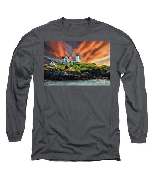 Long Sleeve T-Shirt featuring the digital art Cape Neddick Nubble Lighthouse by Lois Bryan