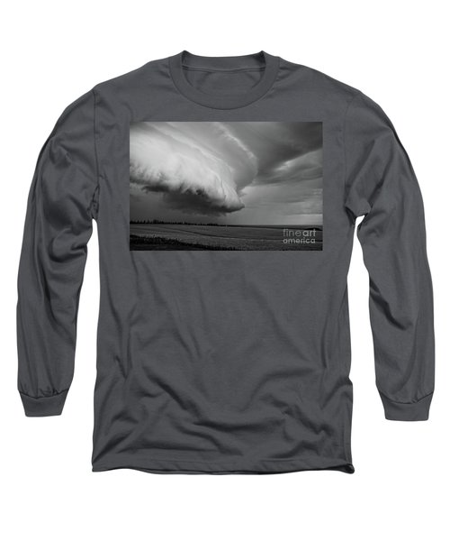 Long Sleeve T-Shirt featuring the photograph Cape Tyron Vortex Black And White by Edward Fielding