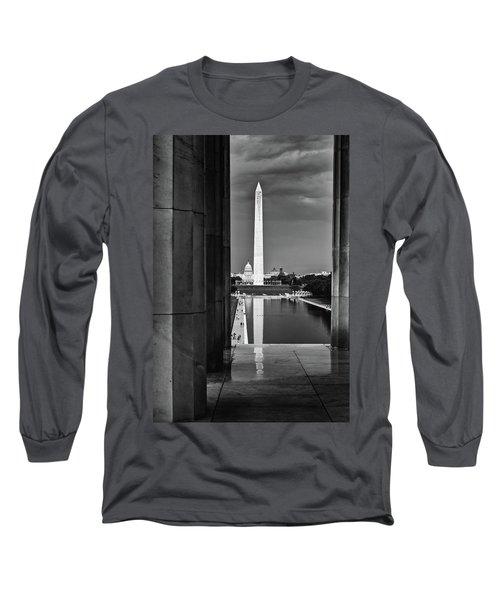 Capita And Washington Monument Long Sleeve T-Shirt by Paul Seymour