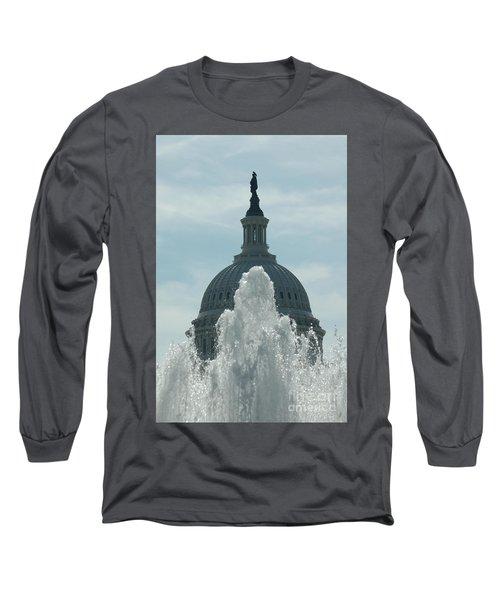 Capital Dome Behind Fountain Long Sleeve T-Shirt
