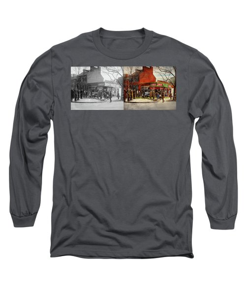 Long Sleeve T-Shirt featuring the photograph Car - Accident - Looking Out For Number One 1921 - Side By Side by Mike Savad