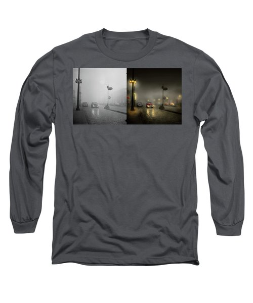 Long Sleeve T-Shirt featuring the photograph Car - Down A Lonely Road 1940 - Side By Side by Mike Savad