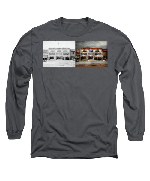 Long Sleeve T-Shirt featuring the photograph Car - Garage - Hendricks Motor Co 1928 - Side By Side by Mike Savad