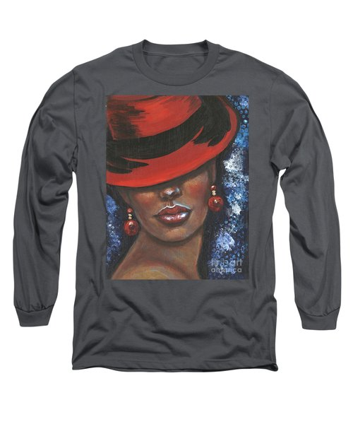 Long Sleeve T-Shirt featuring the painting Carbaret Red by Alga Washington