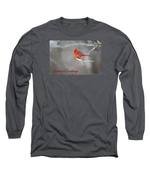 Long Sleeve T-Shirt featuring the photograph Cardinal Christmas Card by Gary Hall