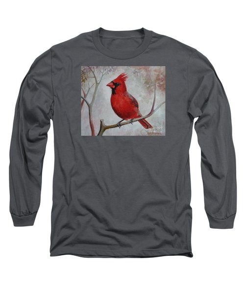 Long Sleeve T-Shirt featuring the painting Cardinal by Elena Oleniuc