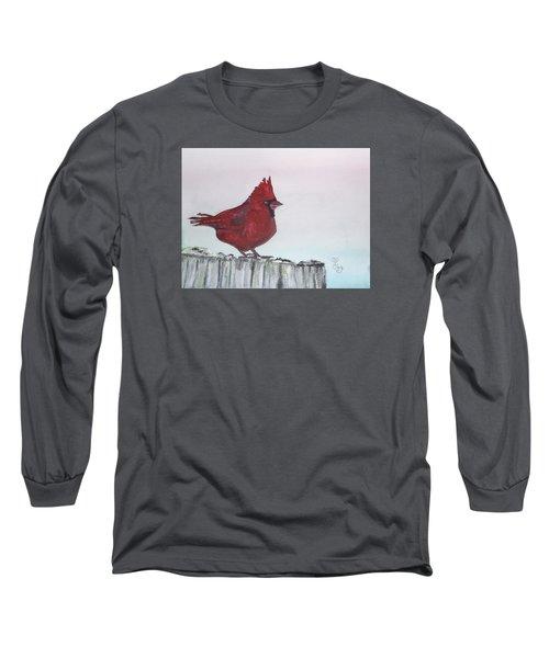 Cardinal On A Fence Post Long Sleeve T-Shirt by Carole Robins