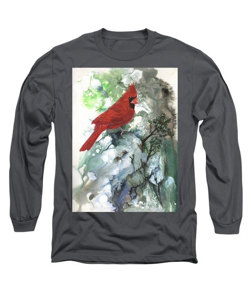 Long Sleeve T-Shirt featuring the painting Cardinal by Sherry Shipley