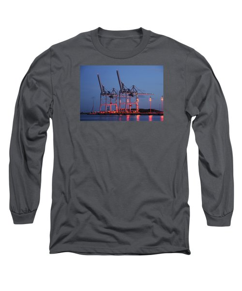 Long Sleeve T-Shirt featuring the photograph Cargo Cranes At Night by Bradford Martin