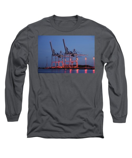 Cargo Cranes At Night Long Sleeve T-Shirt