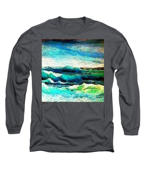 Caribbean Waves Long Sleeve T-Shirt by Holly Martinson