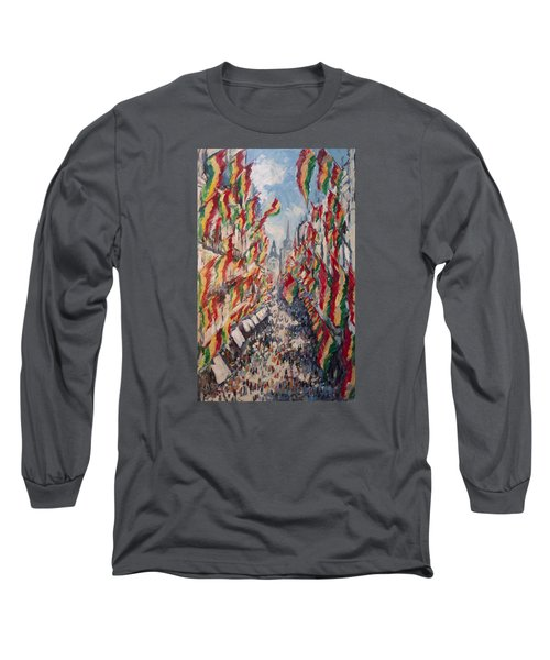 Carnival In The Grote Gracht In Maastricht Long Sleeve T-Shirt by Nop Briex