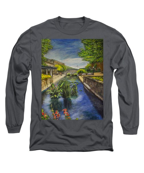 Long Sleeve T-Shirt featuring the painting Carroll Creek by Ron Richard Baviello