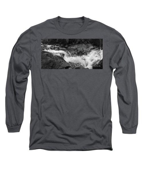Long Sleeve T-Shirt featuring the photograph Cascade Stream Gorge, Rangeley, Maine  -70756-70771-pano-bw by John Bald