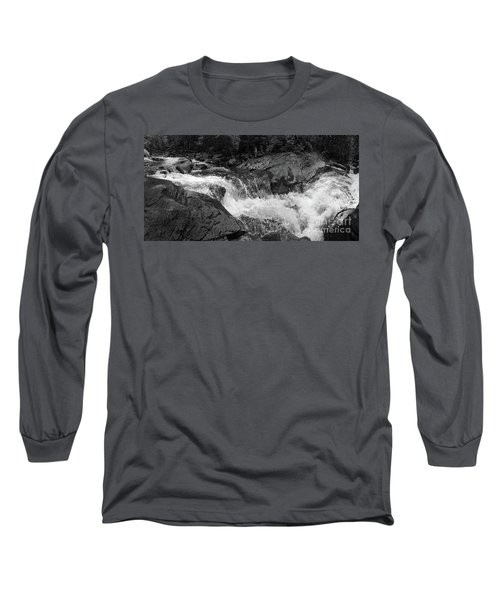 Cascade Stream Gorge, Rangeley, Maine  -70756-70771-pano-bw Long Sleeve T-Shirt