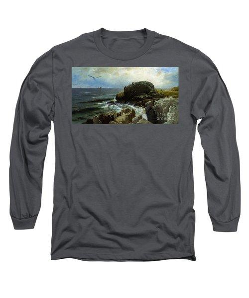 Long Sleeve T-Shirt featuring the digital art Castle Rock - Marblehead by Lianne Schneider