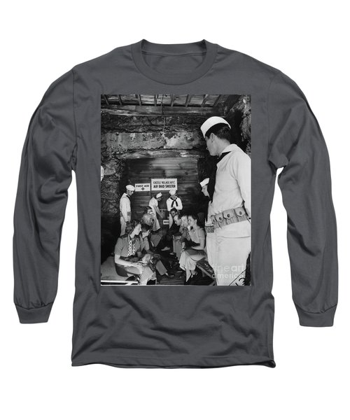 Long Sleeve T-Shirt featuring the photograph Castle Village Air Raid Shelter by Cole Thompson