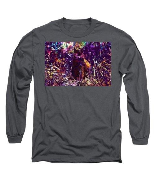 Long Sleeve T-Shirt featuring the digital art Cat Black Sun Meadow  by PixBreak Art