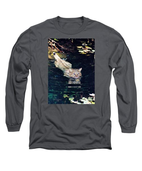 Cat In The Water Long Sleeve T-Shirt by Ansel Price