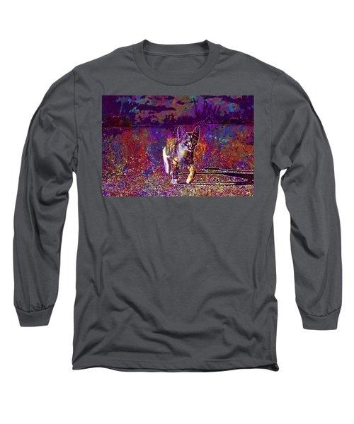 Long Sleeve T-Shirt featuring the digital art Cat Kitten Cat Baby Mackerel  by PixBreak Art