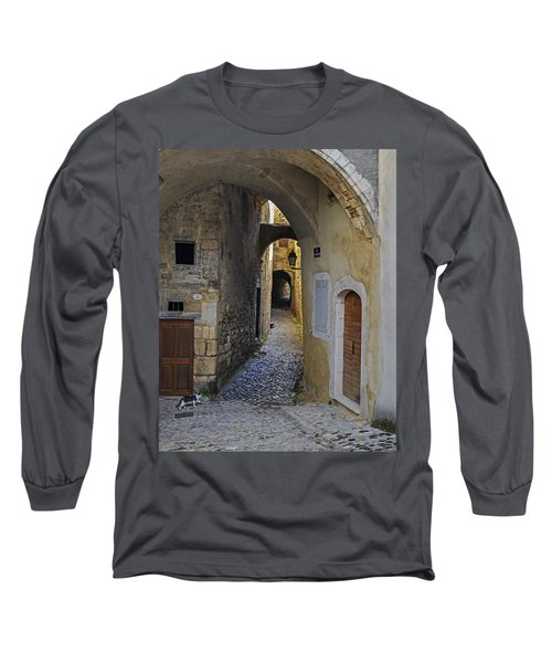 Long Sleeve T-Shirt featuring the photograph Cat On A Quiet Street In Viviers by Allen Sheffield