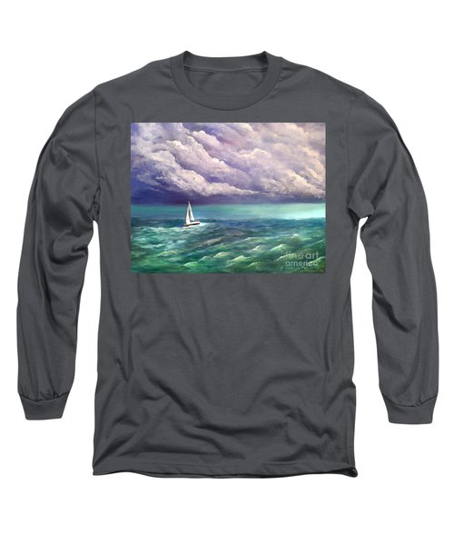 Long Sleeve T-Shirt featuring the painting Tell The Storm by Patricia L Davidson