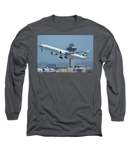 Long Sleeve T-Shirt featuring the photograph Cathay Pacific Boeing 777-367er B-kph Los Angeles International Airport May 3 2016 by Brian Lockett