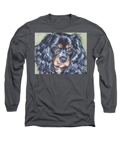 Cavalier King Charles Spaniel Black And Tan Long Sleeve T-Shirt by Lee Ann Shepard