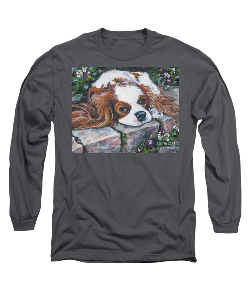 Cavalier King Charles Spaniel In The Pansies  Long Sleeve T-Shirt by Lee Ann Shepard
