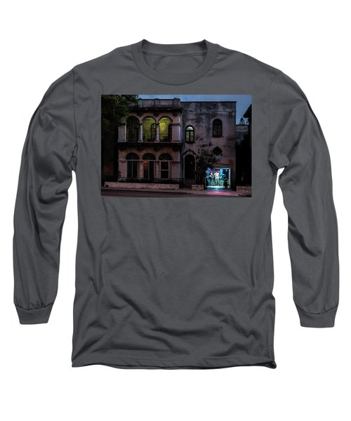 Long Sleeve T-Shirt featuring the photograph Cell Phone Shop Havana Cuba by Charles Harden