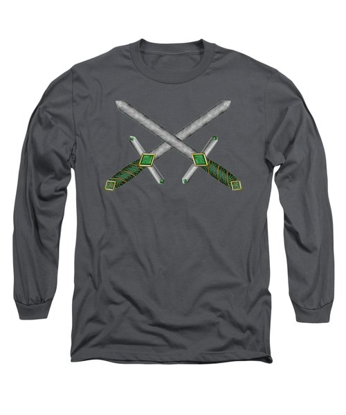 Long Sleeve T-Shirt featuring the mixed media Celtic Daggers by Kristen Fox