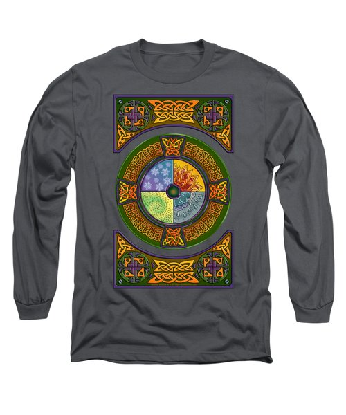 Long Sleeve T-Shirt featuring the mixed media Celtic Elements by Kristen Fox