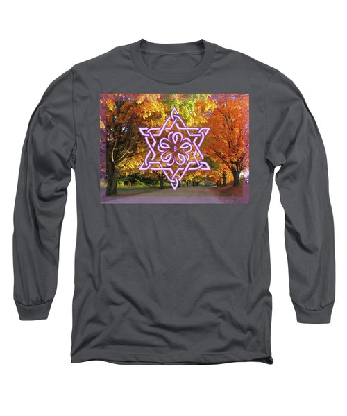 Celtic Hexagram Rose In Lavandar Long Sleeve T-Shirt