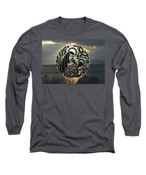 Celtic Madonna Over Sunset Long Sleeve T-Shirt