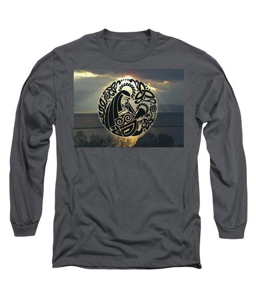 Celtic Madonna Over Sunset Long Sleeve T-Shirt