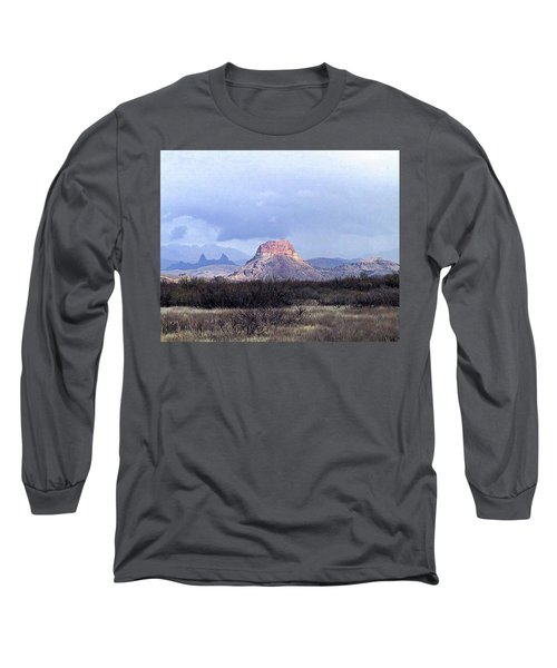 Long Sleeve T-Shirt featuring the painting Cerro Castellan And Mule Ears  by Dennis Ciscel