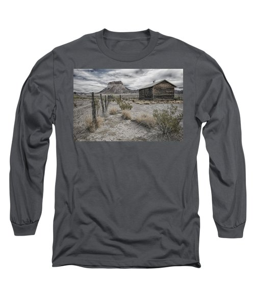 Long Sleeve T-Shirt featuring the tapestry - textile Cerro Castellan - Big Bend  by Kathy Adams Clark
