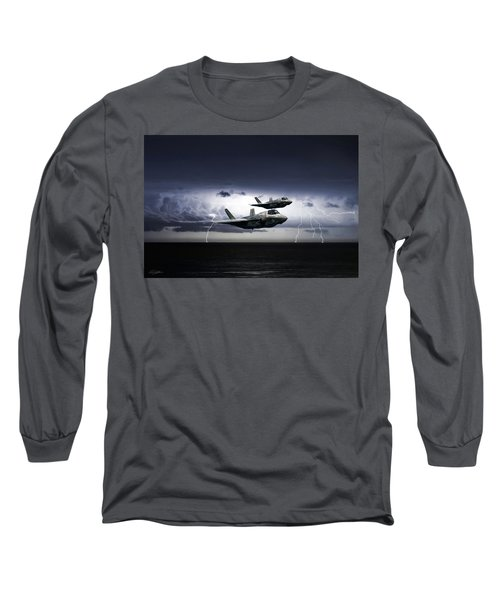 Long Sleeve T-Shirt featuring the digital art Chain Lightning by Peter Chilelli