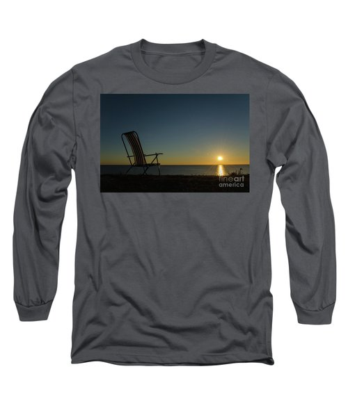Long Sleeve T-Shirt featuring the photograph Chair By The Setting Sun by Kennerth and Birgitta Kullman