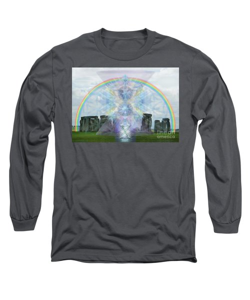 Chalice Over Stonehenge In Flower Of Life Long Sleeve T-Shirt by Christopher Pringer