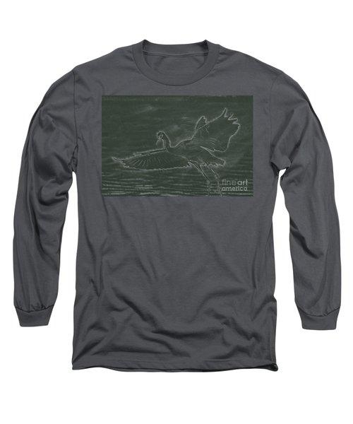 Chalkboard Drawing The Snowy Egret Is Flying At Malibu Lagoon Long Sleeve T-Shirt
