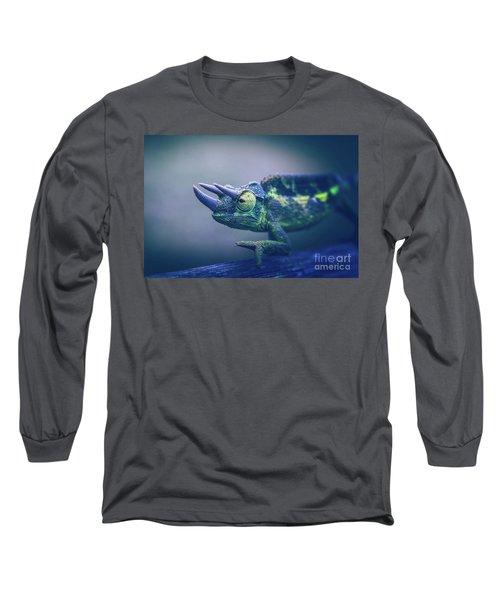 Chamaeleo Jacksonii Long Sleeve T-Shirt by Sharon Mau