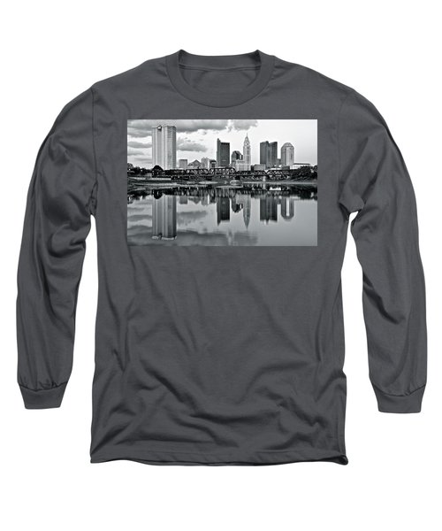 Charcoal Columbus Mirror Image Long Sleeve T-Shirt by Frozen in Time Fine Art Photography