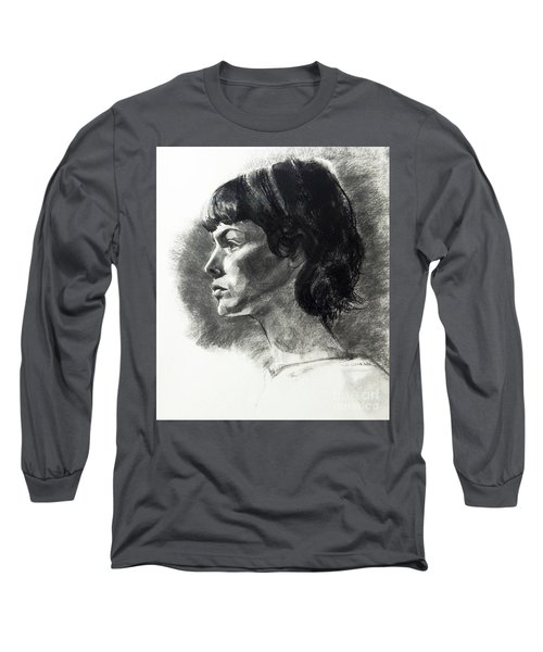 Charcoal Portrait Of A Pensive Young Woman In Profile Long Sleeve T-Shirt